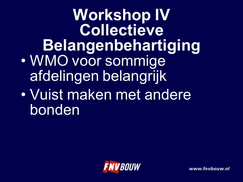 WMO voor sommige afdelingen belangrijk Vuist maken met andere bonden Workshop IV Collectieve Belangenbehartiging
