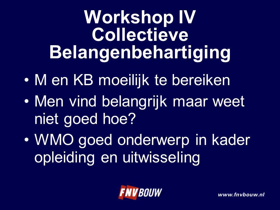 M en KB moeilijk te bereiken Men vind belangrijk maar weet niet goed hoe? WMO goed onderwerp in kader opleiding en uitwisseling Workshop IV Collectiev