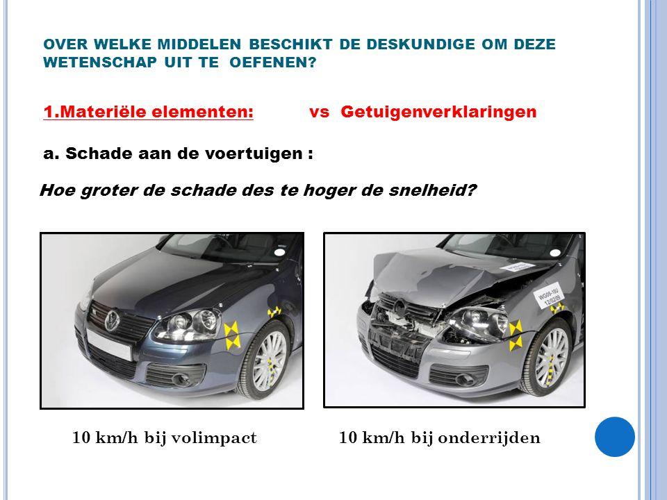 OVER WELKE MIDDELEN BESCHIKT DE DESKUNDIGE OM DEZE WETENSCHAP UIT TE OEFENEN? 1.Materiële elementen: a. Schade aan de voertuigen : Hoe groter de schad