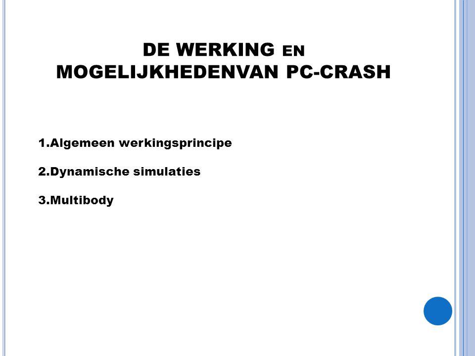 DE WERKING EN MOGELIJKHEDENVAN PC-CRASH 1.Algemeen werkingsprincipe 2.Dynamische simulaties 3.Multibody
