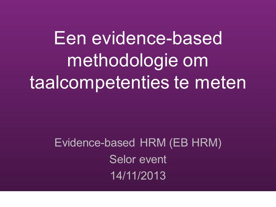Evidence-based approach 1.Het project en de resultaten 2.De kwaliteit monitoren: Waarom en hoe.