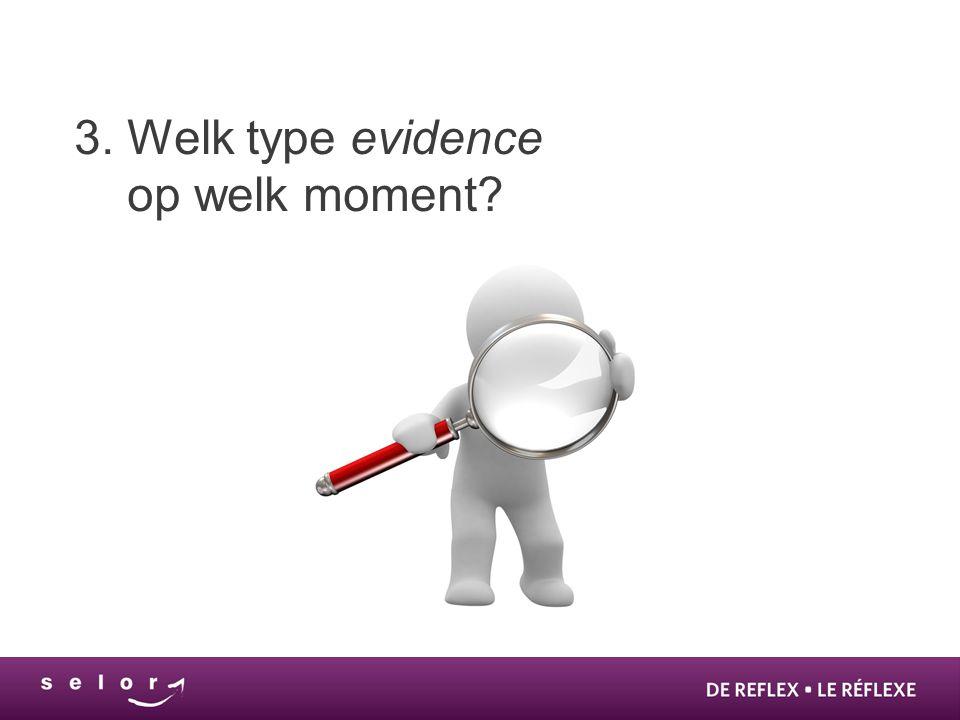 3. Welk type evidence op welk moment