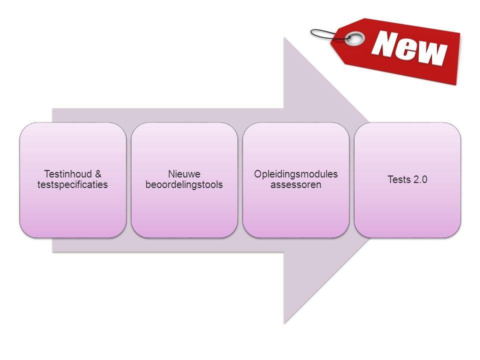 Testinhoud & testspecificaties Nieuwe beoordelingstools Opleidingsmodules assessoren Tests 2.0