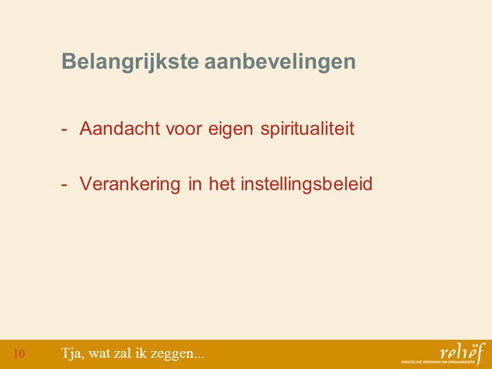 Belangrijkste aanbevelingen -Aandacht voor eigen spiritualiteit -Verankering in het instellingsbeleid Tja, wat zal ik zeggen...