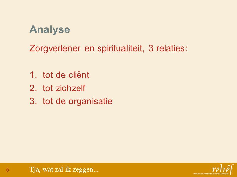 Analyse Zorgverlener en spiritualiteit, 3 relaties: 1.tot de cliënt 2.tot zichzelf 3.tot de organisatie Tja, wat zal ik zeggen...