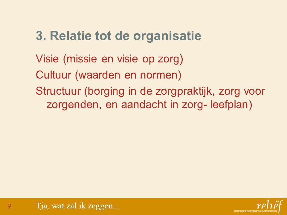 3. Relatie tot de organisatie Visie (missie en visie op zorg) Cultuur (waarden en normen) Structuur (borging in de zorgpraktijk, zorg voor zorgenden,