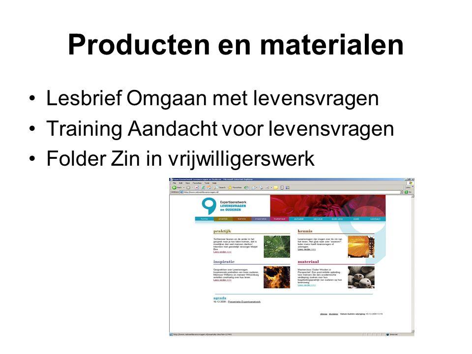 Producten en materialen Lesbrief Omgaan met levensvragen Training Aandacht voor levensvragen Folder Zin in vrijwilligerswerk