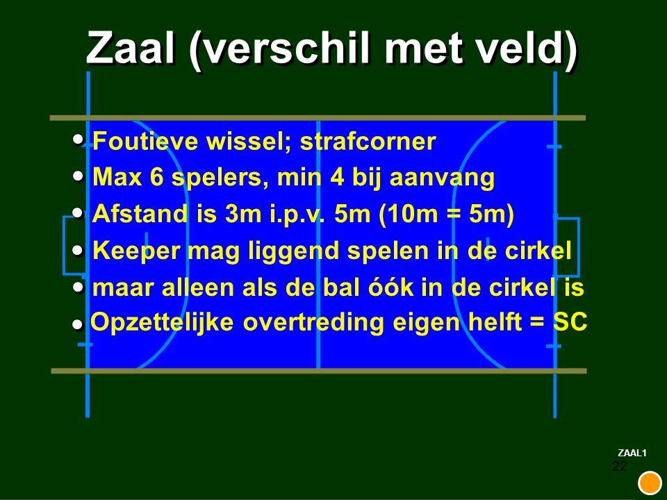 22 Zaal (verschil met veld) Foutieve wissel; strafcorner Max 6 spelers, min 4 bij aanvangAfstand is 3m i.p.v. 5m (10m = 5m) Keeper mag liggend spelen