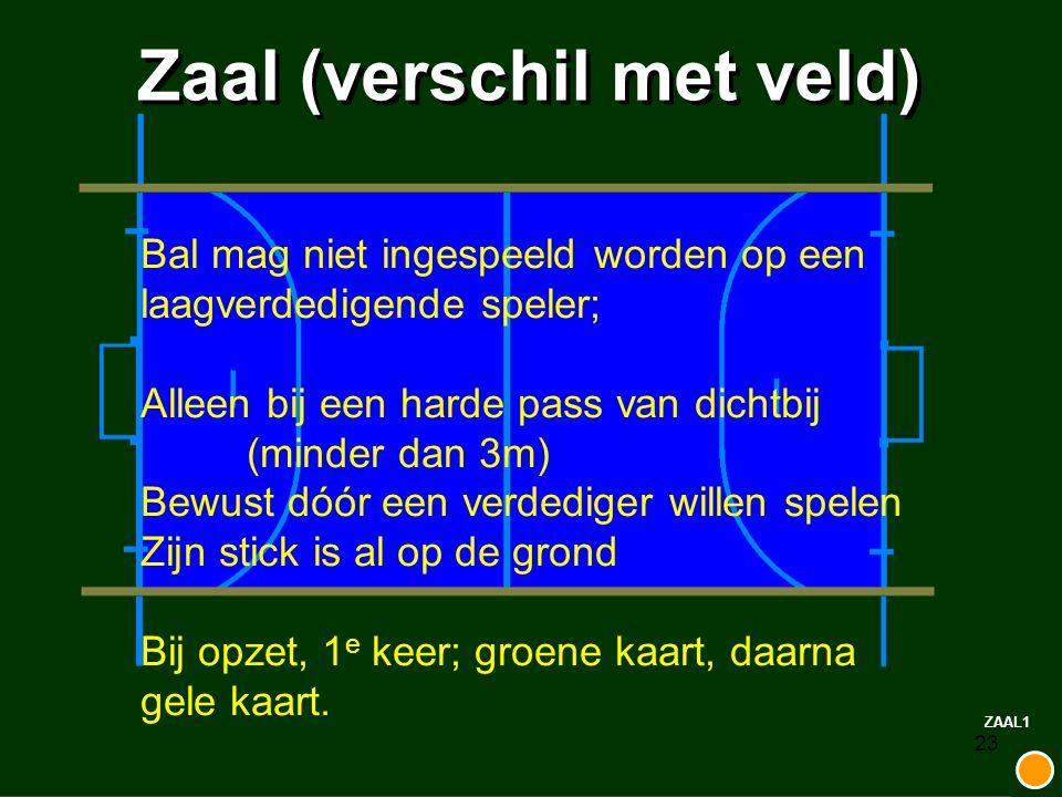 23 Zaal (verschil met veld) ZAAL1 Bal mag niet ingespeeld worden op een laagverdedigende speler; Alleen bij een harde pass van dichtbij (minder dan 3m
