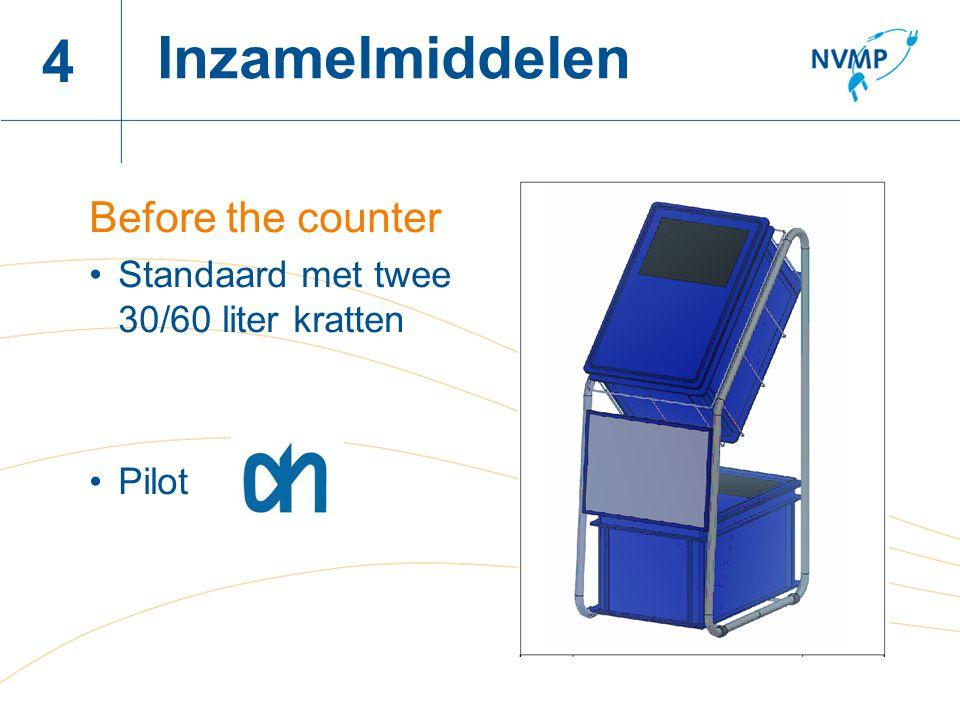 Naam spreker, datum 4 Before the counter Standaard met twee 30/60 liter kratten Pilot Inzamelmiddelen