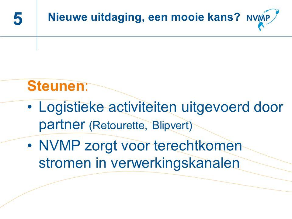 Naam spreker, datum 5 Steunen: Logistieke activiteiten uitgevoerd door partner (Retourette, Blipvert) NVMP zorgt voor terechtkomen stromen in verwerki