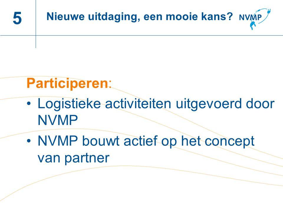 Naam spreker, datum 5 Participeren: Logistieke activiteiten uitgevoerd door NVMP NVMP bouwt actief op het concept van partner Nieuwe uitdaging, een mooie kans?