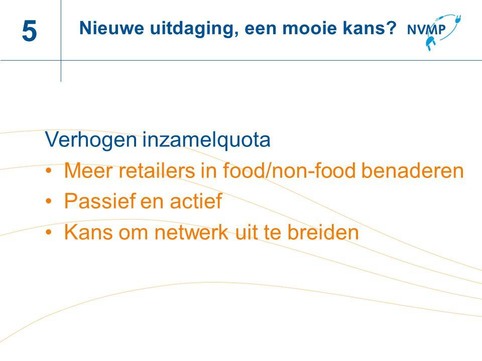 Naam spreker, datum 5 Verhogen inzamelquota Meer retailers in food/non-food benaderen Passief en actief Kans om netwerk uit te breiden Nieuwe uitdaging, een mooie kans?