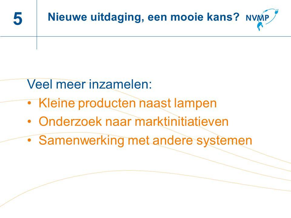 Naam spreker, datum 5 Veel meer inzamelen: Kleine producten naast lampen Onderzoek naar marktinitiatieven Samenwerking met andere systemen Nieuwe uitdaging, een mooie kans?