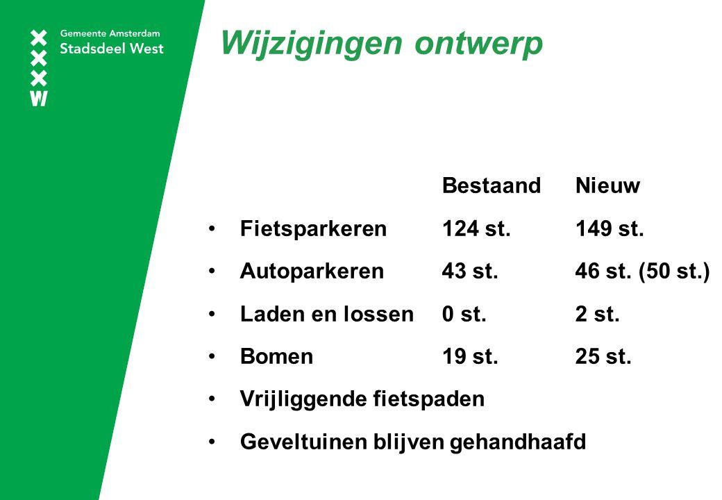 Wijzigingen ontwerp BestaandNieuw Fietsparkeren124 st. 149 st. Autoparkeren43 st. 46 st. (50 st.) Laden en lossen0 st. 2 st. Bomen 19 st.25 st. Vrijli
