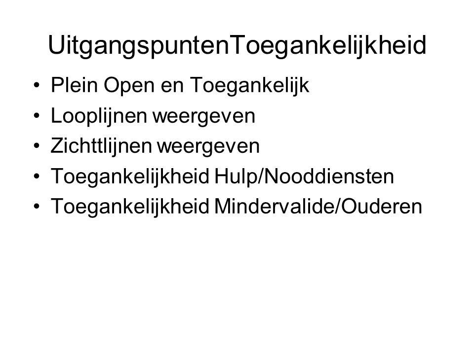 UitgangspuntenToegankelijkheid Plein Open en Toegankelijk Looplijnen weergeven Zichttlijnen weergeven Toegankelijkheid Hulp/Nooddiensten Toegankelijkheid Mindervalide/Ouderen