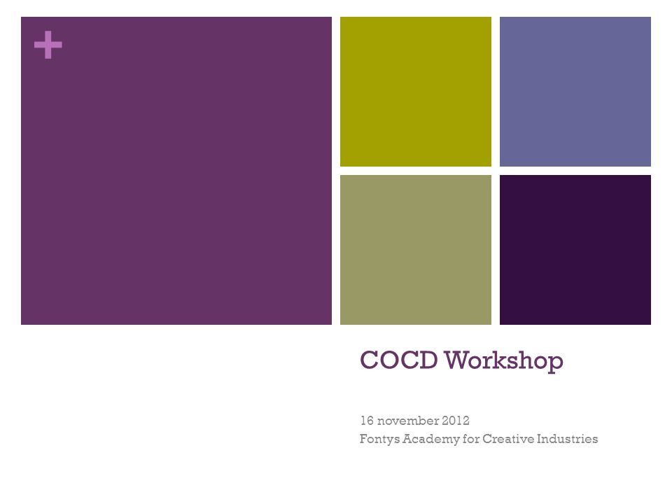 + COCD Workshop 16 november 2012 Fontys Academy for Creative Industries
