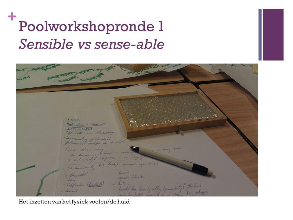 + Poolworkshopronde 1 Sensible vs sense-able Het inzetten van het fysiek voelen/de huid
