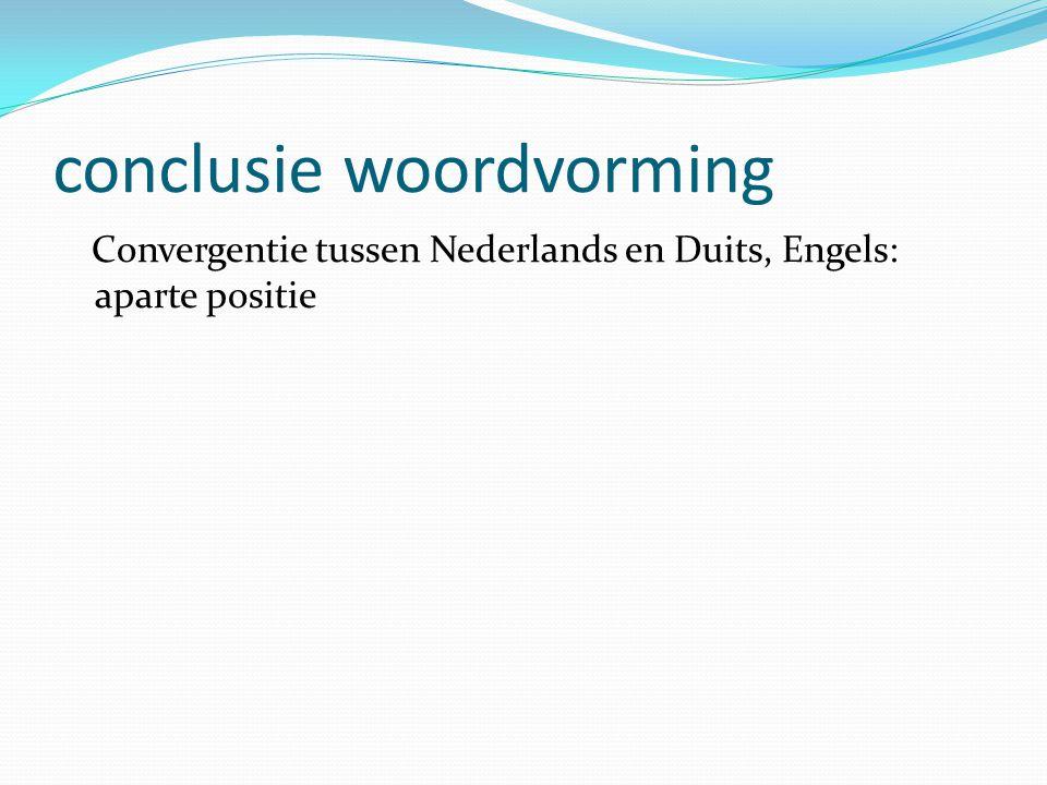 conclusie woordvorming Convergentie tussen Nederlands en Duits, Engels: aparte positie