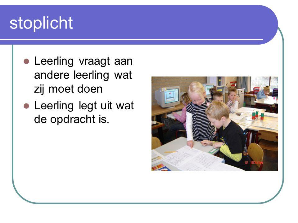 stoplicht Leerling vraagt aan andere leerling wat zij moet doen Leerling legt uit wat de opdracht is.