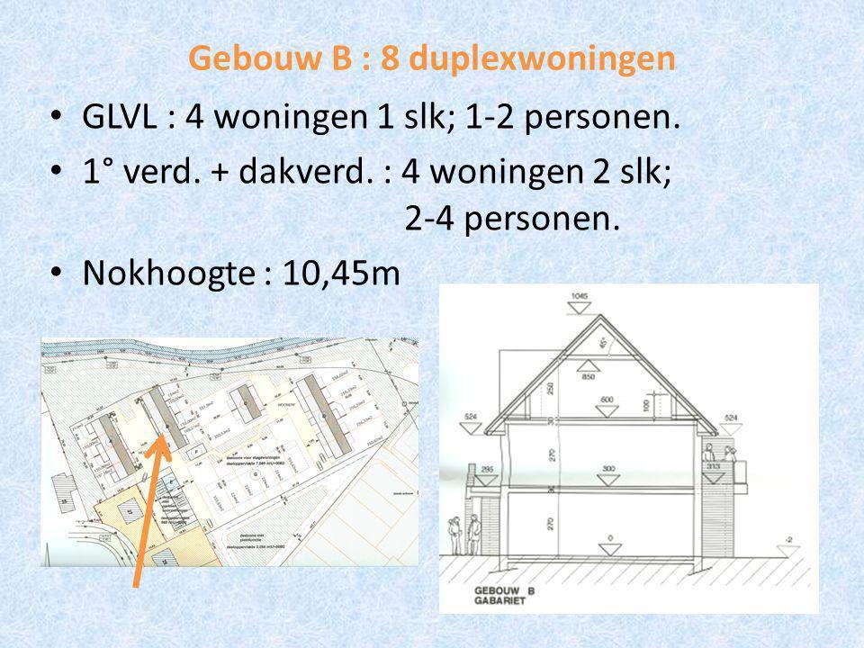 Gebouw B : 8 duplexwoningen GLVL : 4 woningen 1 slk; 1-2 personen.