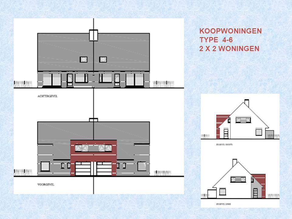 4 (2x2) koopwoningen type 4-6 GLVL : inkom, wc, living, keuken, berging, garage.