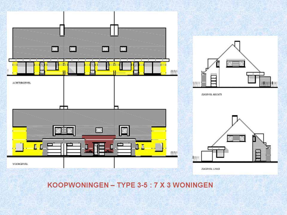 Gebouw D : 5 gezinswoningen Gezinswoningen 3 slk; 3-5 personen. Met garage. Nokhoogte : 8,10m