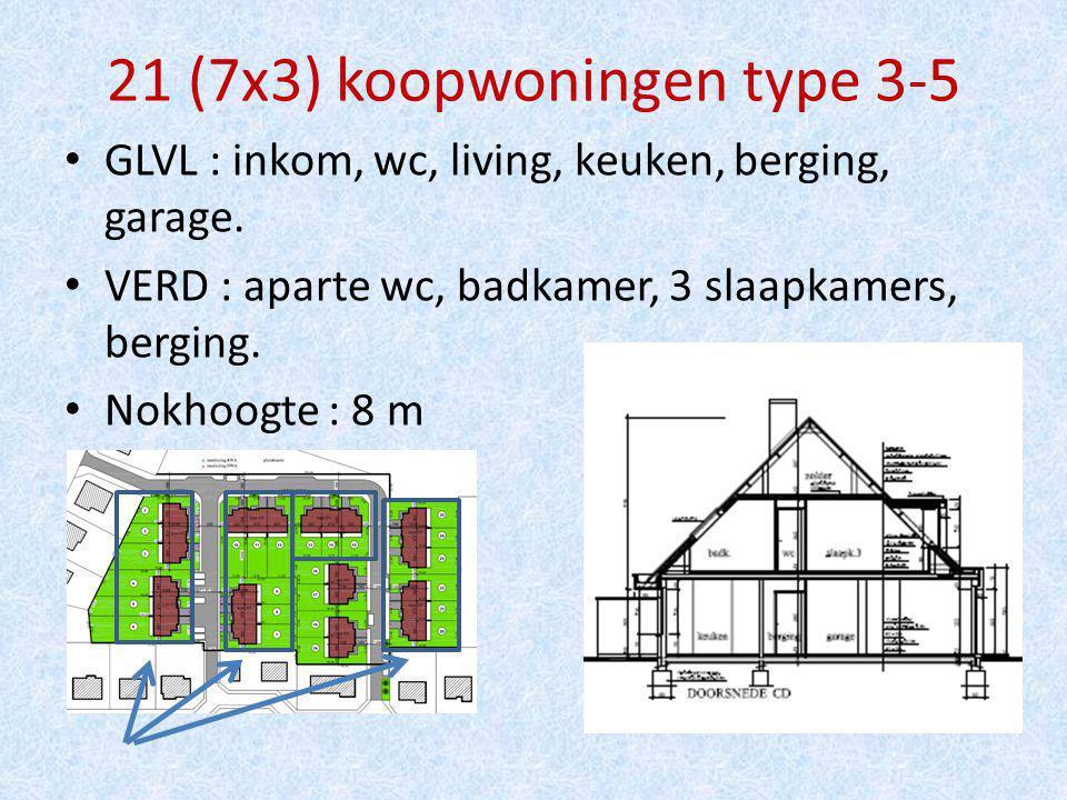 21 (7x3) koopwoningen type 3-5 GLVL : inkom, wc, living, keuken, berging, garage.