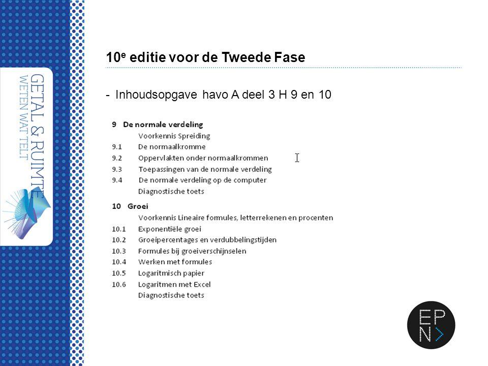 10 e editie voor de Tweede Fase -Inhoudsopgave havo A deel 3 H 9 en 10