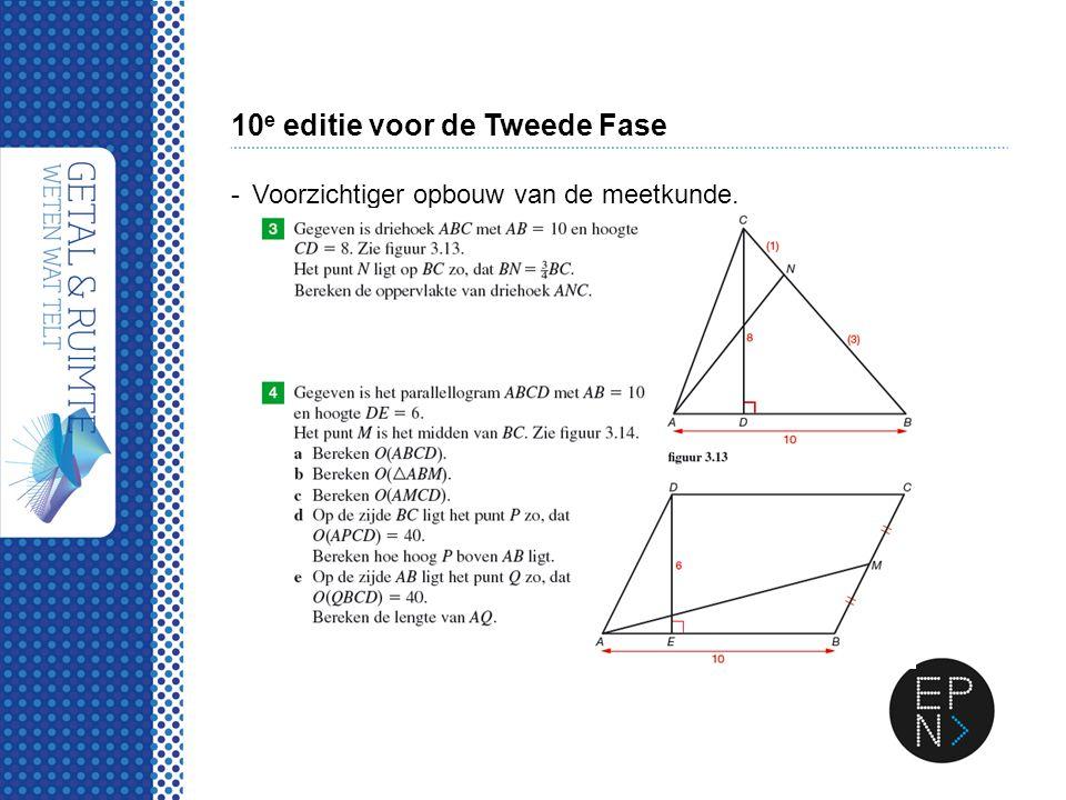 10 e editie voor de Tweede Fase -Voorzichtiger opbouw van de meetkunde.