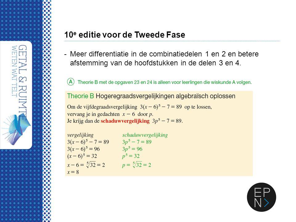 10 e editie voor de Tweede Fase -Meer differentiatie in de combinatiedelen 1 en 2 en betere afstemming van de hoofdstukken in de delen 3 en 4.