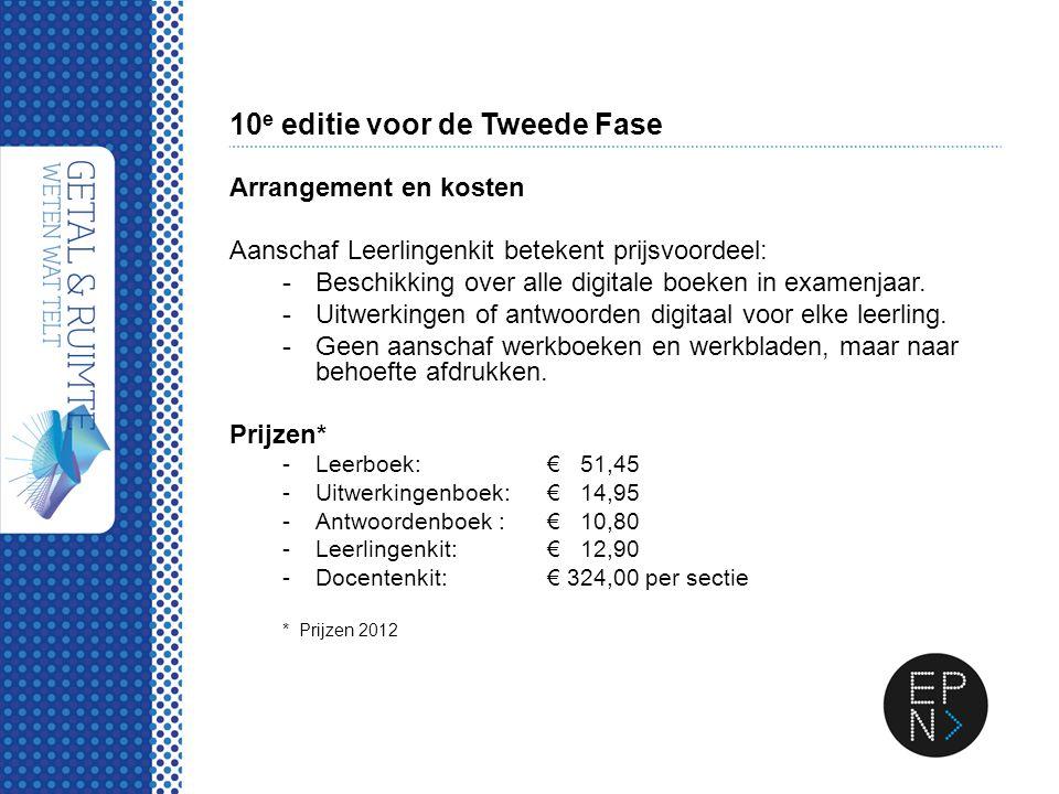 10 e editie voor de Tweede Fase Arrangement en kosten Aanschaf Leerlingenkit betekent prijsvoordeel: -Beschikking over alle digitale boeken in examenj