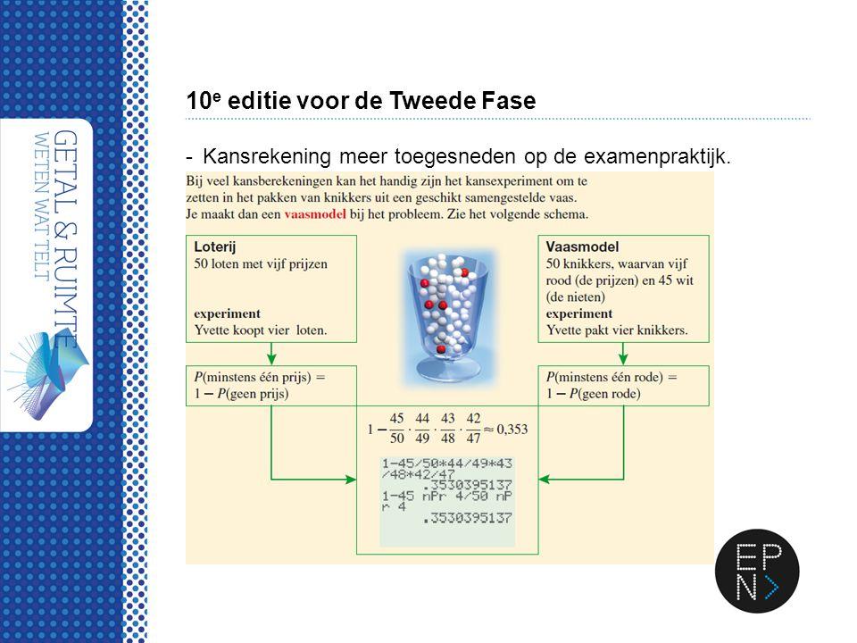 10 e editie voor de Tweede Fase -Kansrekening meer toegesneden op de examenpraktijk.