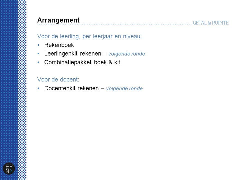 Arrangement Voor de leerling, per leerjaar en niveau: Rekenboek Leerlingenkit rekenen – volgende ronde Combinatiepakket boek & kit Voor de docent: Doc