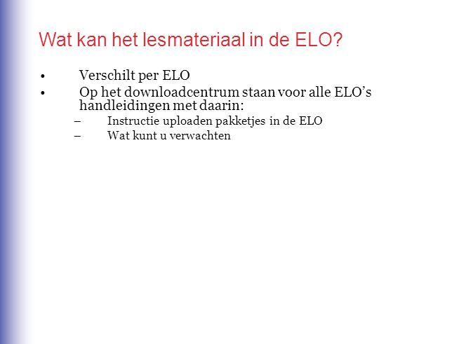 Wat kan het lesmateriaal in de ELO.
