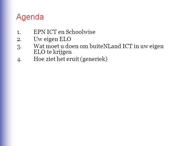 Agenda 1.EPN ICT en Schoolwise 2.Uw eigen ELO 3.Wat moet u doen om buiteNLand ICT in uw eigen ELO te krijgen 4.Hoe ziet het eruit (generiek)