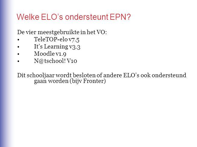 Welke ELO's ondersteunt EPN.