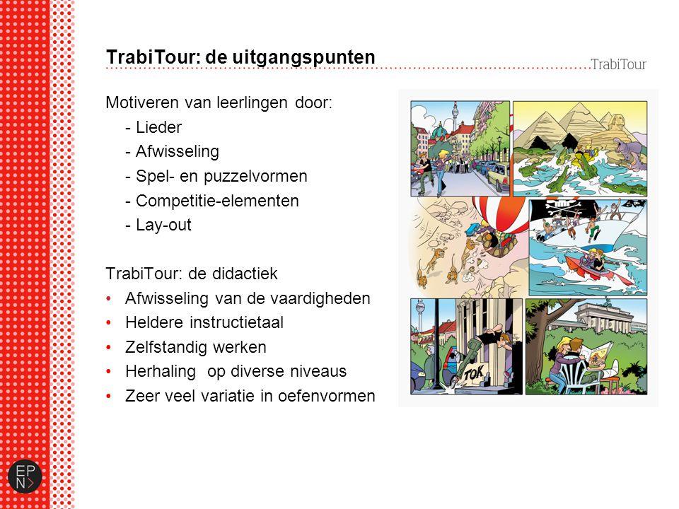 TrabiTour: de uitgangspunten Motiveren van leerlingen door: - Lieder - Afwisseling - Spel- en puzzelvormen - Competitie-elementen - Lay-out TrabiTour: