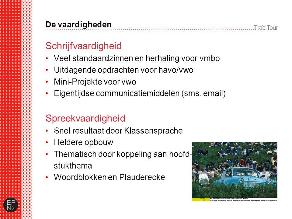 De vaardigheden Schrijfvaardigheid Veel standaardzinnen en herhaling voor vmbo Uitdagende opdrachten voor havo/vwo Mini-Projekte voor vwo Eigentijdse