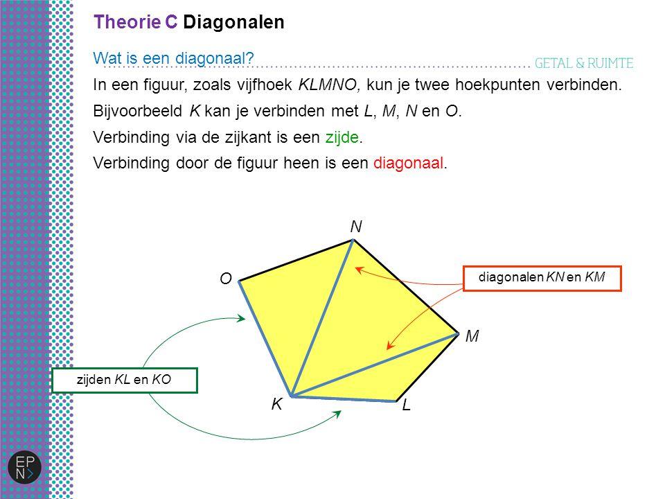 Theorie C Diagonalen O K L M N In een figuur, zoals vijfhoek KLMNO, kun je twee hoekpunten verbinden. Bijvoorbeeld K kan je verbinden met L, M, N en O