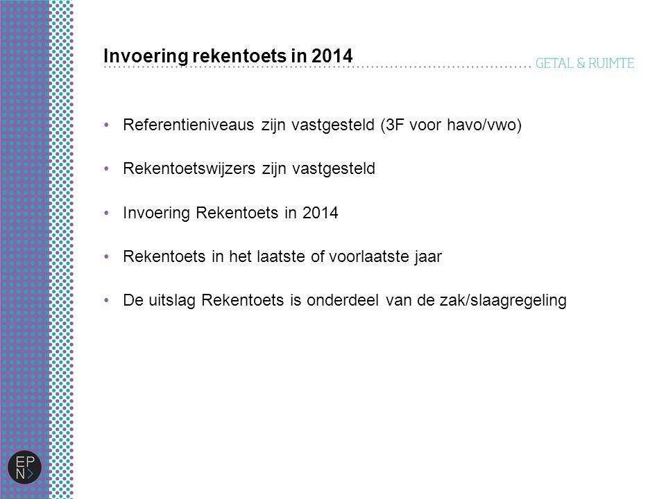 Invoering rekentoets in 2014 Referentieniveaus zijn vastgesteld (3F voor havo/vwo) Rekentoetswijzers zijn vastgesteld Invoering Rekentoets in 2014 Rek