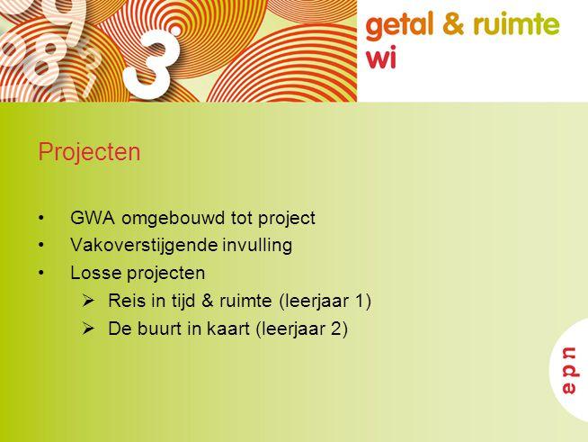 Projecten GWA omgebouwd tot project Vakoverstijgende invulling Losse projecten  Reis in tijd & ruimte (leerjaar 1)  De buurt in kaart (leerjaar 2)