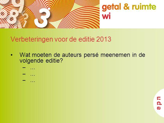 Verbeteringen voor de editie 2013 Wat moeten de auteurs persé meenemen in de volgende editie? –…