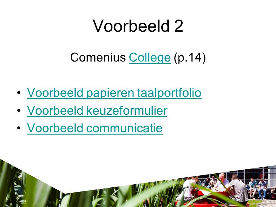 Voorbeeld 2 Comenius College (p.14)College Voorbeeld papieren taalportfolio Voorbeeld keuzeformulier Voorbeeld communicatie