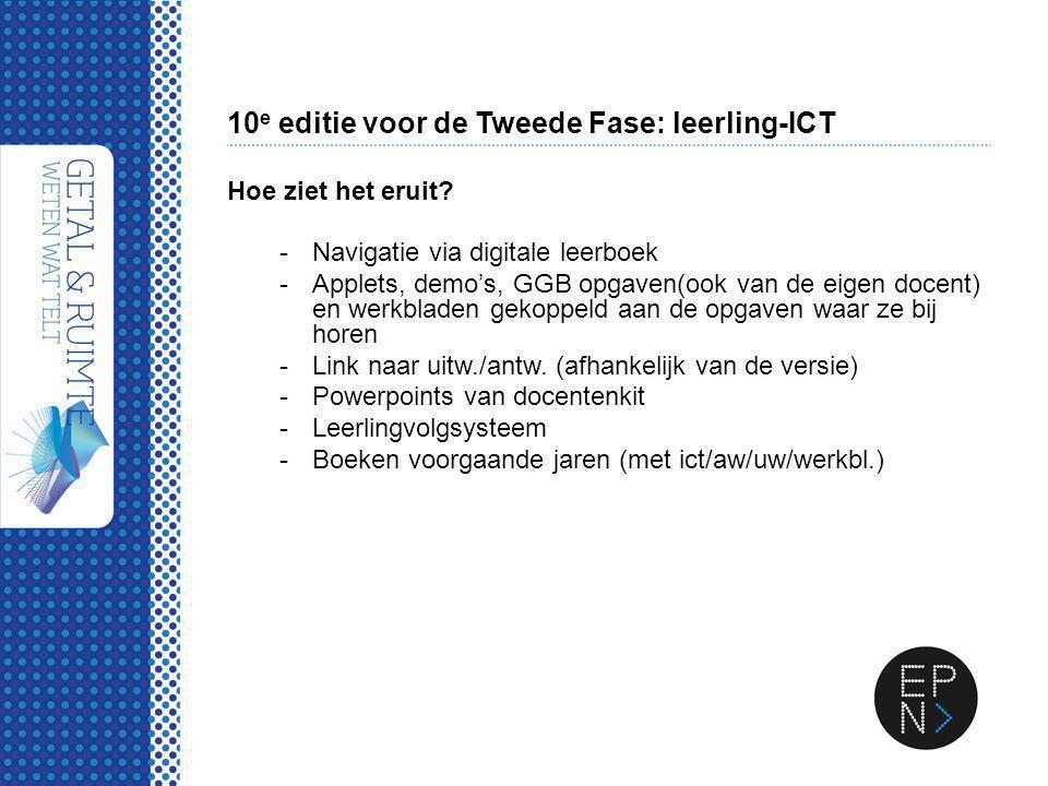 10 e editie voor de Tweede Fase: leerling-ICT Hoe ziet het eruit? -Navigatie via digitale leerboek -Applets, demo's, GGB opgaven(ook van de eigen doce