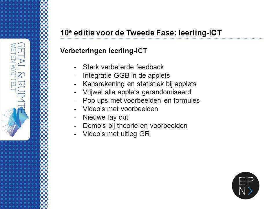 10 e editie voor de Tweede Fase: leerling-ICT Verbeteringen leerling-ICT -Sterk verbeterde feedback -Integratie GGB in de applets -Kansrekening en sta