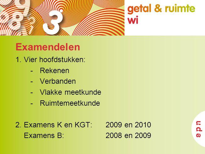 Examendelen 1. Vier hoofdstukken: -Rekenen -Verbanden -Vlakke meetkunde -Ruimtemeetkunde 2. Examens K en KGT: 2009 en 2010 Examens B: 2008 en 2009