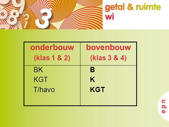 onderbouw (klas 1 & 2) bovenbouw (klas 3 & 4) BK KGT T/havo B K KGT