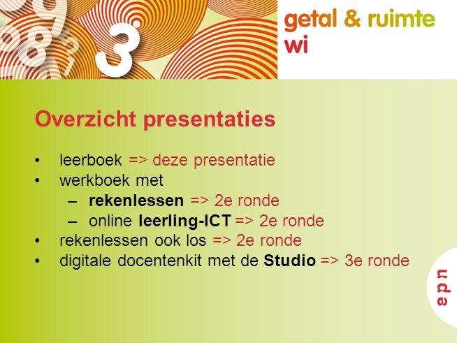 Overzicht presentaties leerboek => deze presentatie werkboek met –rekenlessen => 2e ronde –online leerling-ICT => 2e ronde rekenlessen ook los => 2e r