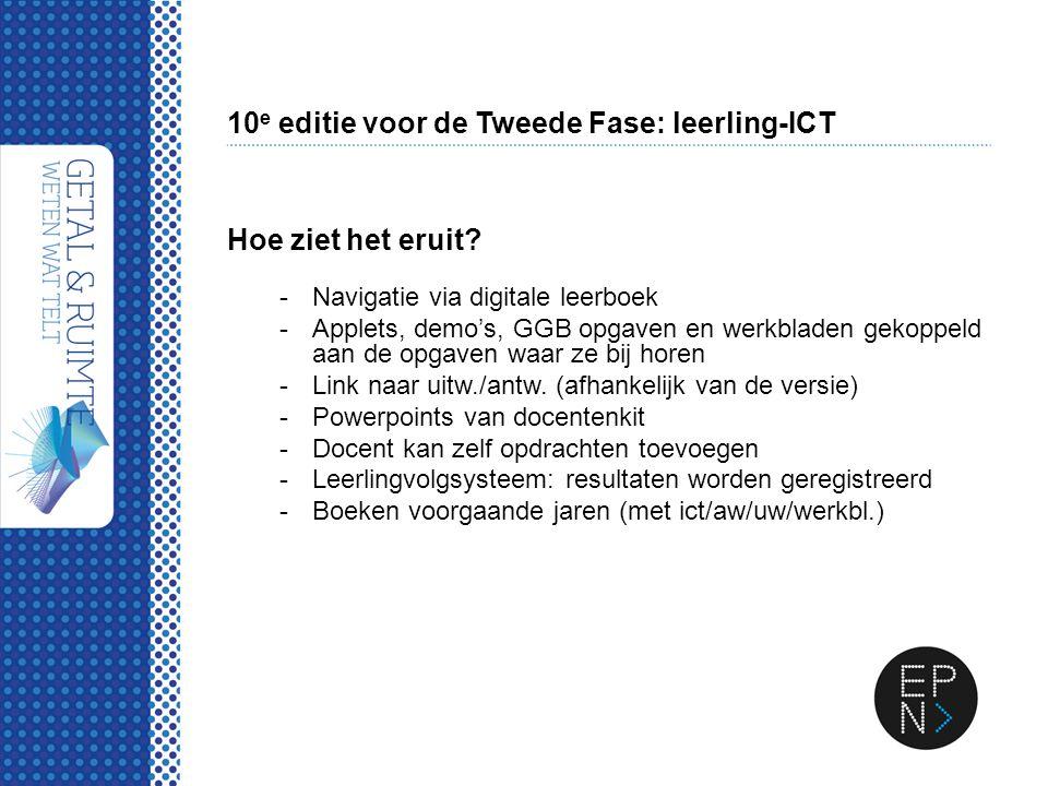 10 e editie voor de Tweede Fase: leerling-ICT Hoe ziet het eruit? -Navigatie via digitale leerboek -Applets, demo's, GGB opgaven en werkbladen gekoppe